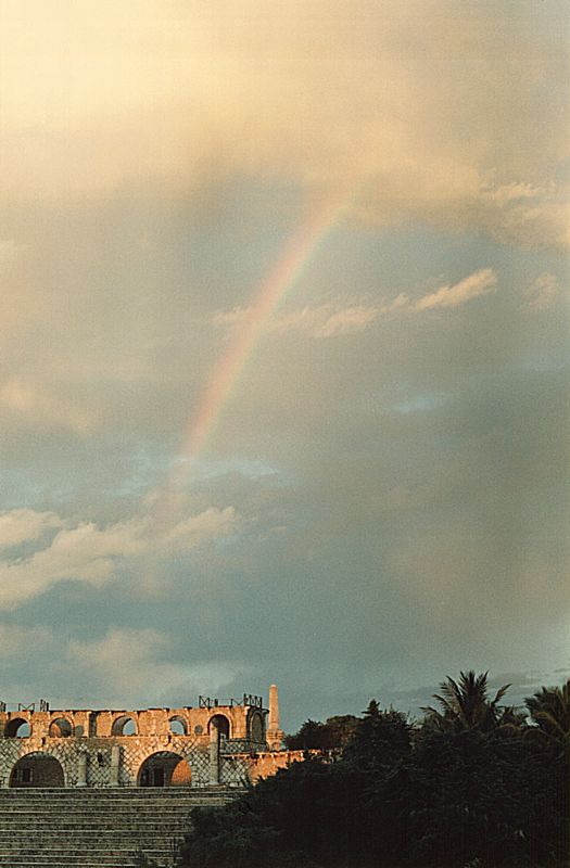 rainbow over amphitheatre