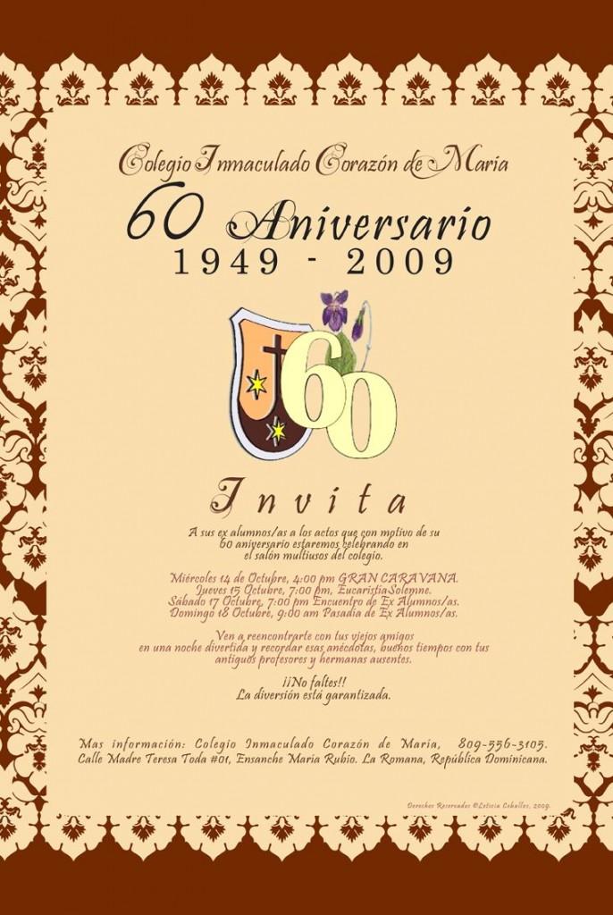 INMACULADO CORAZON DE MARIA PROGRAMA 60 aniversario