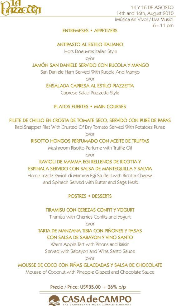 piazzetta set menu 14 y 16 de agosto