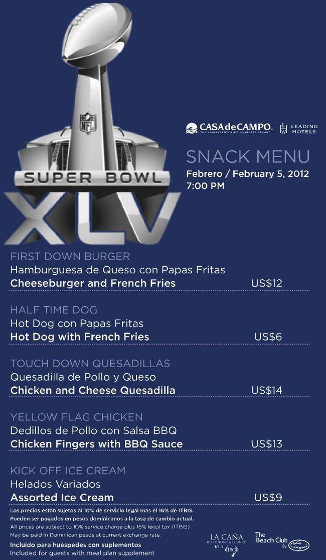 super bowl menu