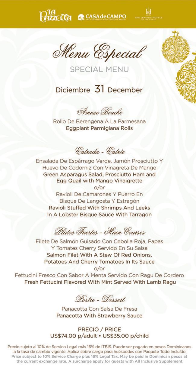 new years eve menu
