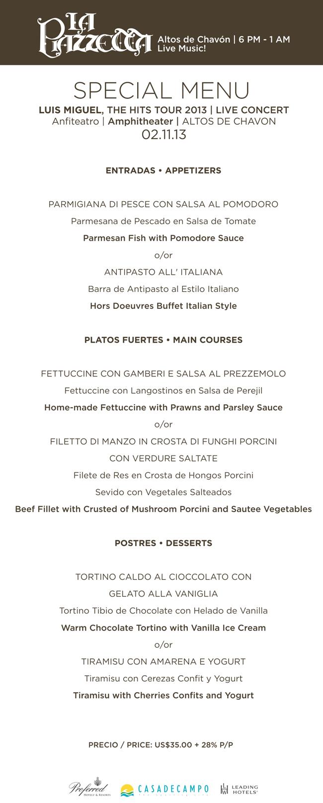 La Piazzetta menu