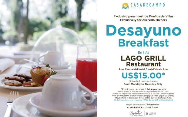 Breakfast Lago Grill Casa de Campo
