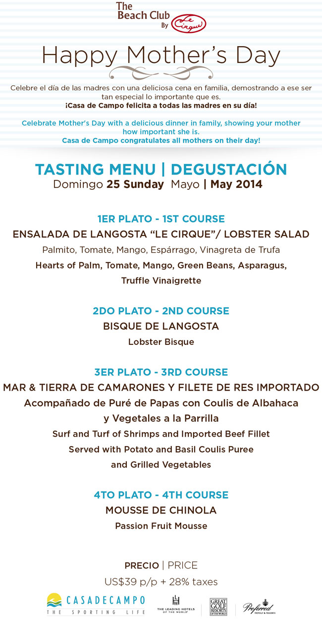 Mother's Day menu at the Beach Club by Le Cirque
