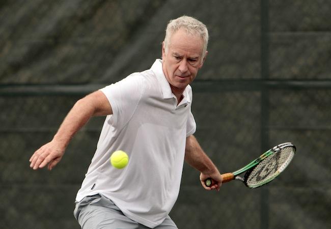 McEnroe and Courier offer an Exhibition tenis match in Casa De Campo, La Romana