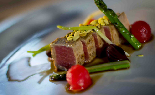 Xabier Gutierrez Dinner, Tuna with Japanese Mojo with asparagus and watermelon balls
