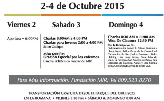Fundación MIR Spiritual Retreat Event Schedule