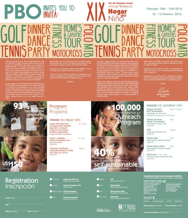 Hogar del Niño Weekend Invitation 2016