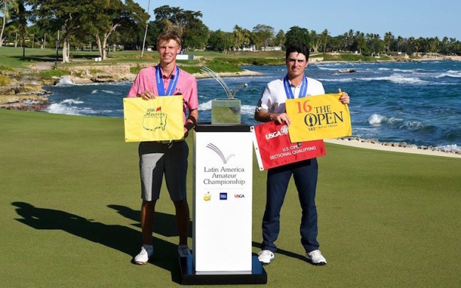 Paul Chaplet of Costa Rica and Jorge Garcia of Venezuela with the trophy from the Latin America Amateur Championship 2016 in Casa de Campo, Sunday January 17, 2016. Enrique Berardi/LAAC