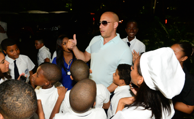 Vin Diesel and Children at the Magical Splendor Gala