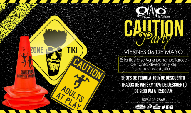Caution Party at Onnos Bar Flyer
