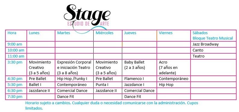Stage Art Studio Schedule 2016-2017